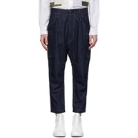 Junya Watanabe Indigo Cotton And Linen Denim Trousers