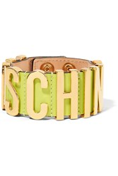 Moschino Gold Tone And Leather Bracelet Yellow