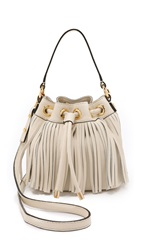 Milly Essex Small Fringe Bucket Bag Bone