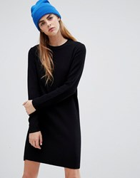 Bershka Rib Knitted Dress In Black