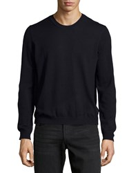 Just Cavalli Crewneck Wool Sweater Blue Navy Men's