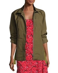 Grey By Jason Wu Zip Front Military Jacket Green
