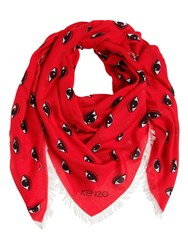 Kenzo Fringed Jacquard Silk And Modal Scarf Red