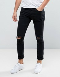 New Look Skinny Jeans With Busted Knee Rips In Black Wash Black