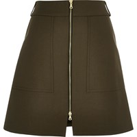 River Island Womens Khaki A Line Skirt