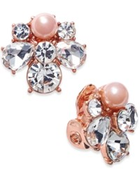 Charter Club Rose Gold Tone Crystal And Pink Imitation Pearl Cluster Clip On Stud Earrings Only At Macy's