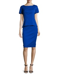 Lafayette 148 New York Short Sleeve Peplum Dress Imperial