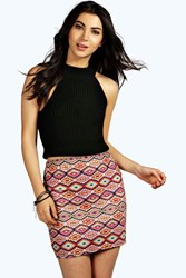 Boohoo Aztec Print Mini Skirt Multi