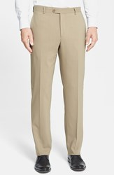 Santorelli Men's Big And Tall Flat Front Travel Trousers Tan