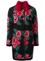 Twin Set Floral Intarsia Coat Black
