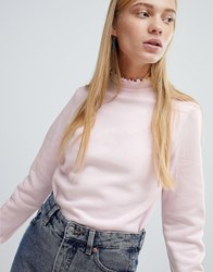 Monki Ruffle Collar Sweatshirt Pink