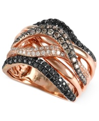 Effy Collection Confetti By Effy Black 3 4 Ct. T.W. Champagne 1 3 Ct. T.W And White Diamond 1 6 Ct. T.W. Wavy Ring In 14K Rose Gold