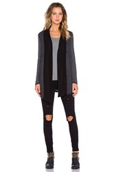 Splendid Heathered Thermal Cardigan Charcoal