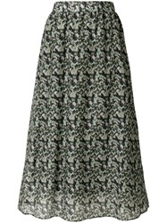 Manoush Floral Camouflage Midi Skirt Green