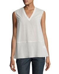 Brunello Cucinelli Sleeveless V Neck Georgette Top Cream
