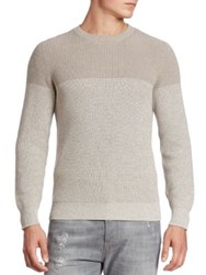 Brunello Cucinelli Ribbed Colorblock Crewneck Sweater Oatmeal