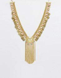Asos Coin Chain Collar Necklace Cream