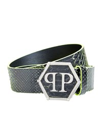 Philipp Plein Logo Buckle Python Belt Unisex Black