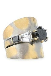 Iosselliani Woman Burnished Gold And Gunmetal Tone Crystal Ring Brass