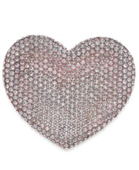 Joan Boyce Rose Gold Tone Pave Heart Pin Pink