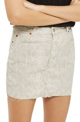 Topshop Women's Coated Snake Denim Miniskirt Cream