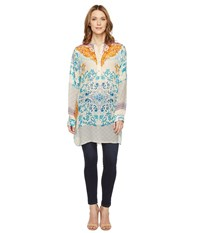 Johnny Was Ellyonora 1 2 Placket Tunic Multi A Women's Blouse Blue