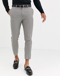 New Look Skinny Smart Trousers In Brown Puppytooth Check