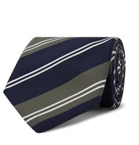 Kingsman Drake's 8Cm Striped Silk And Cotton Blend Twill Tie Army Green