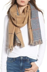 Bp. Reversible Houndstooth And Grid Scarf Tan Multi