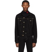 Versace Jeans Couture Black Denim Contrast Stitching Jacket