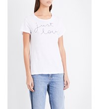 Sundry Just Love Embroidered Cotton Jersey T Shirt White