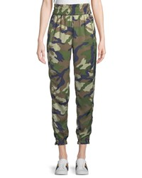 Kendall Kylie Camouflage Charmeuse Jogger Pants Green Pattern
