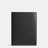 Coach Passport Case In Refined Pebble Leather Black