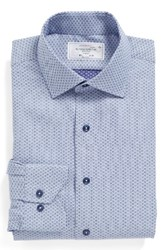 Lorenzo Uomo Men's Big And Tall Trim Fit Geometric Dress Shirt Blue