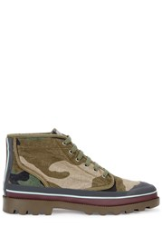 Valentino Camouflage Canvas Desert Boots Green
