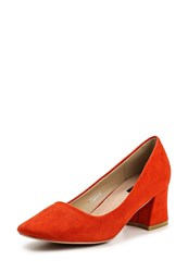 Lost Ink Demi Low Block Heel Courts Red