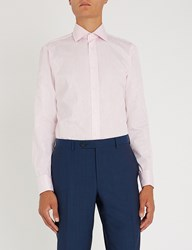 Duchamp Floral Print Tailored Fit Cotton Jacquard Shirt Pink