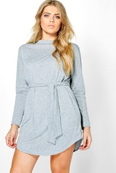 Boohoo Plus Teresa Tie Waist Long Sleeve T Shirt Dress Grey