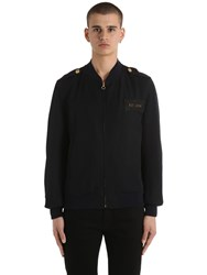 Kent And Curwen Military Wool Bomber Jacket Navy