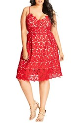 City Chic Plus Size Women's So Fancy Lace Dress Scarlet