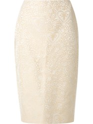 Martha Medeiros Jacquard Judith Pencil Skirt Beige