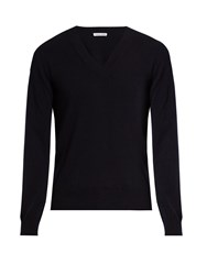 Tomas Maier V Neck Cashmere Sweater Navy