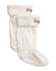 Hunter Ribbed Cuff Fleece Welly Socks White