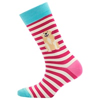Joules Brill Bamboo Dog Print Ankle Socks Pack Of 1 Pink Multi