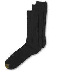 Gold Toe Cotton Fluffies Casual 3 Pack Extended Size Men's Socks Black