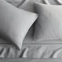Cb2 Linen Cement Queen Sheet Set
