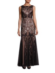 Aidan Mattox Beaded And Embroidered Sleeveless Gown Rose Gold Black