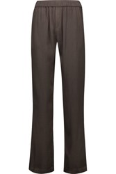 Enza Costa Crepe Straight Leg Pants Army Green