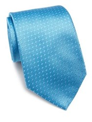 Charvet Micro Patterned Silk Tie Blue