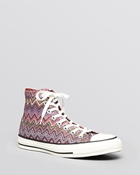 Converse X Missoni Lace Up High Top Sneakers Chuck Taylor All Star Purple Multi